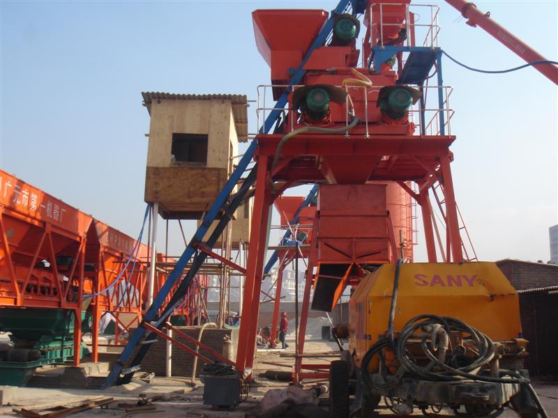 JS1000攪拌機+1600四倉配料機輸送泵接料